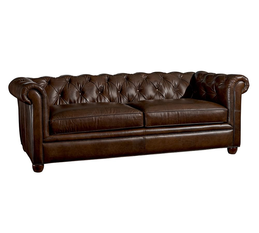 Chesterfield leather sofa pottery barn au Leather chesterfield loveseat