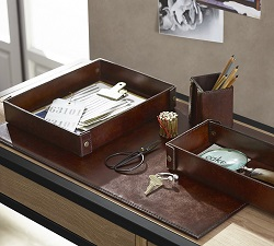 Saddle Chocolate Leather Desk Accessories Collection