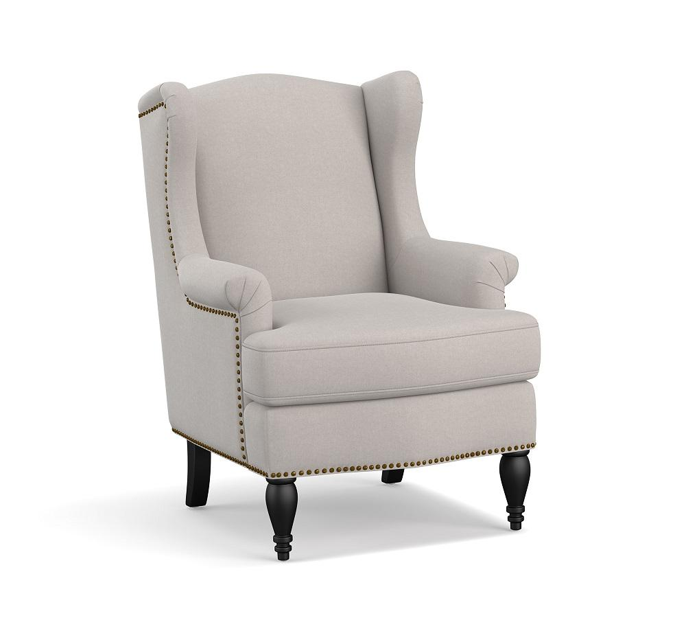 SoMa Delancey Wingback Upholstered Armchair - Microsuede Grey