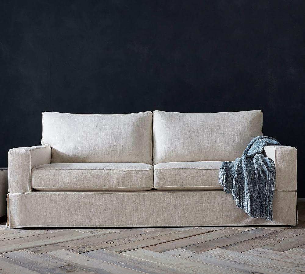 PB Comfort Square Slipcovered Sofa - Pebble (196 cm)