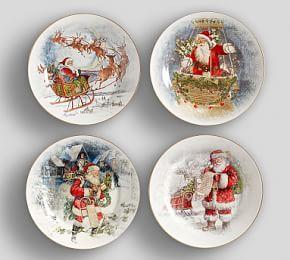 Nostalgic Santa Dinner Plate, Mixed Set Of 4