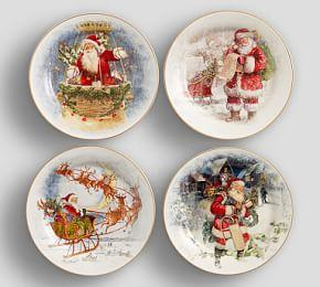 Nostalgic Santa Salad Plate, Mixed Set Of 4