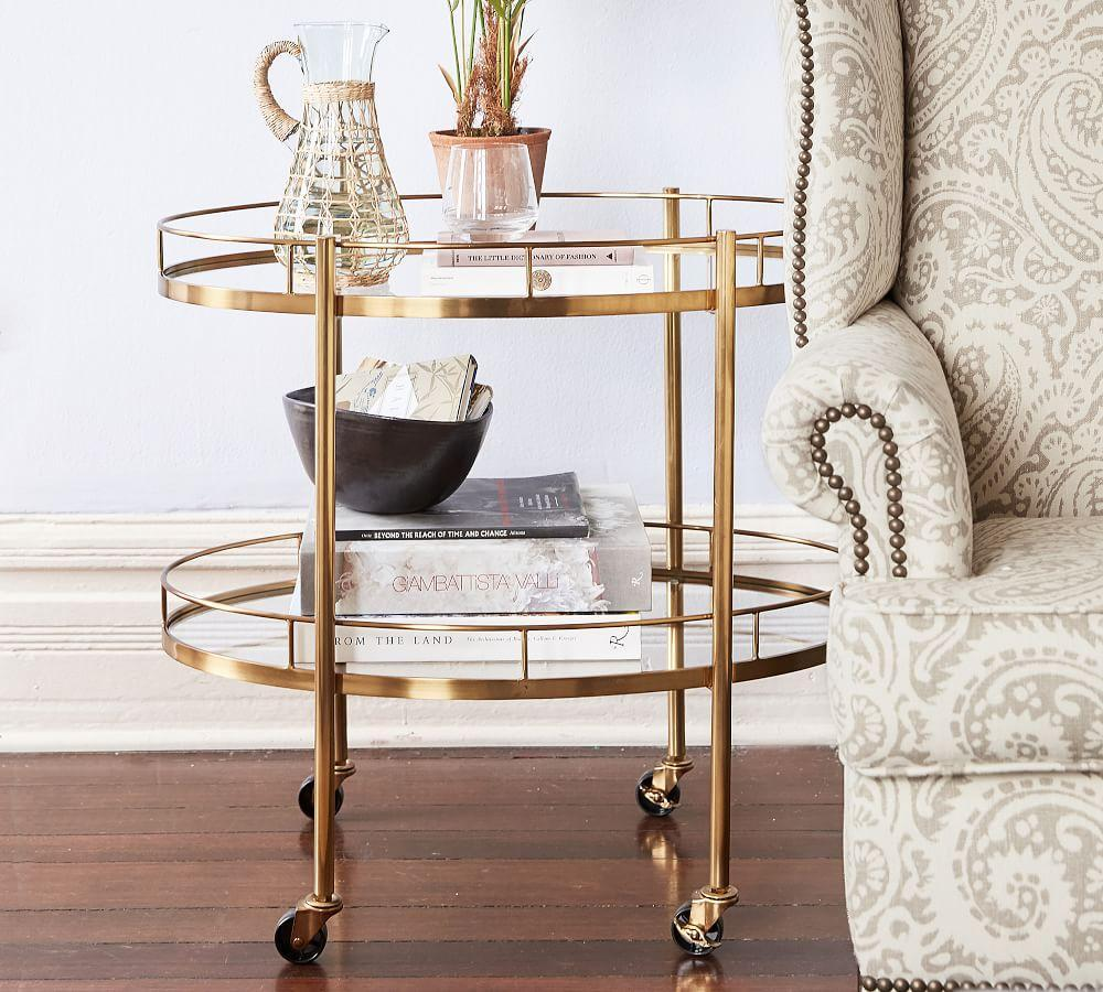 Abby Oval Bar Cart