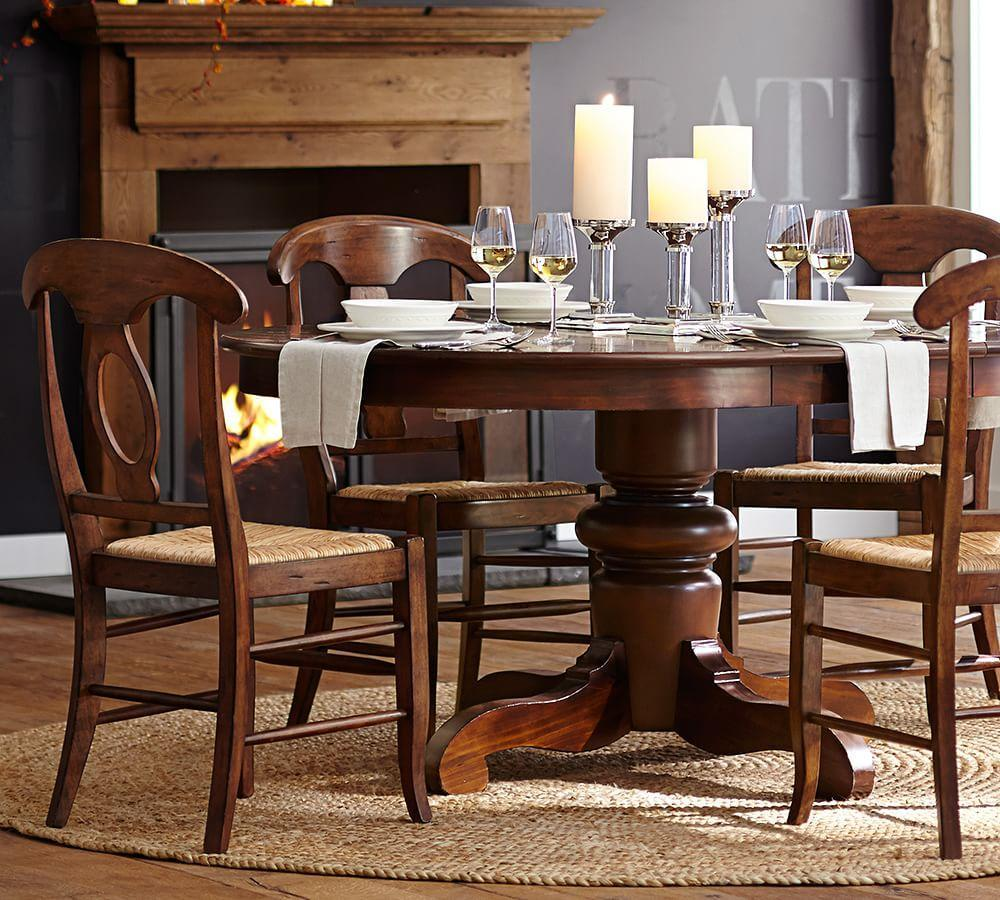 Tivoli extending round dining table tuscan chestnut stain