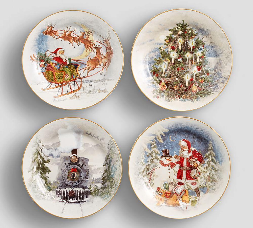 Christmas Plate Set.Nostalgic Christmas Dinner Plate Set Of 4 Pottery Barn Au