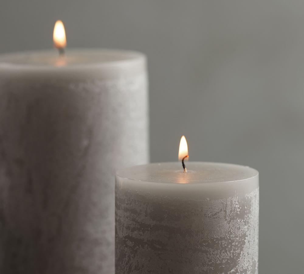 Timber Pillar Candle - Grey Moss