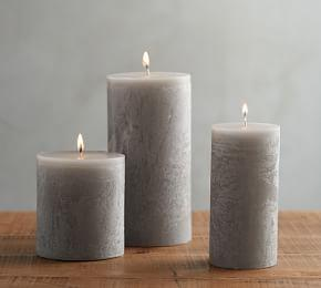 Timber Pillar Candle - Grey Moss