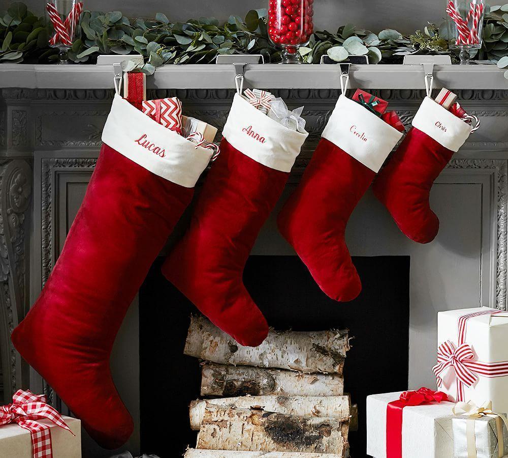 Red Velvet Christmas Stockings.Velvet Stocking Red With Ivory Cuff Pottery Barn Au