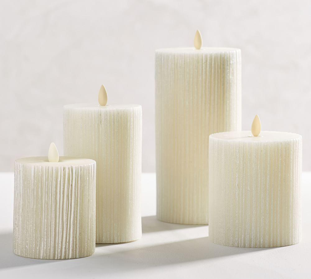 Premium Flicker Flameless Etched Stripe Pillar Candle