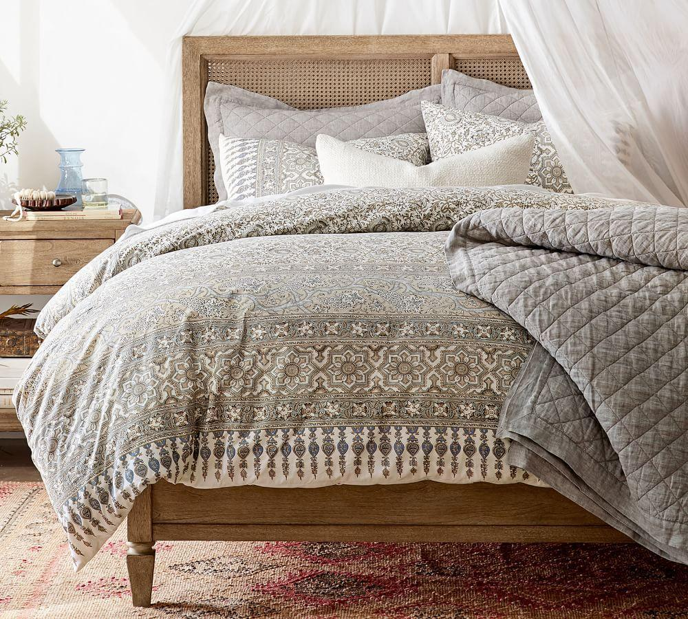 Belgian Flax Linen Diamond Coverlet & Pillowcases - Flagstone