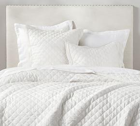 Belgian Flax Linen Diamond Coverlet & Pillowcases - White