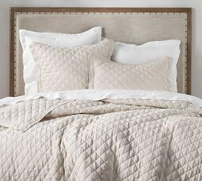 Belgian Flax Linen Diamond Coverlet & Pillowcases