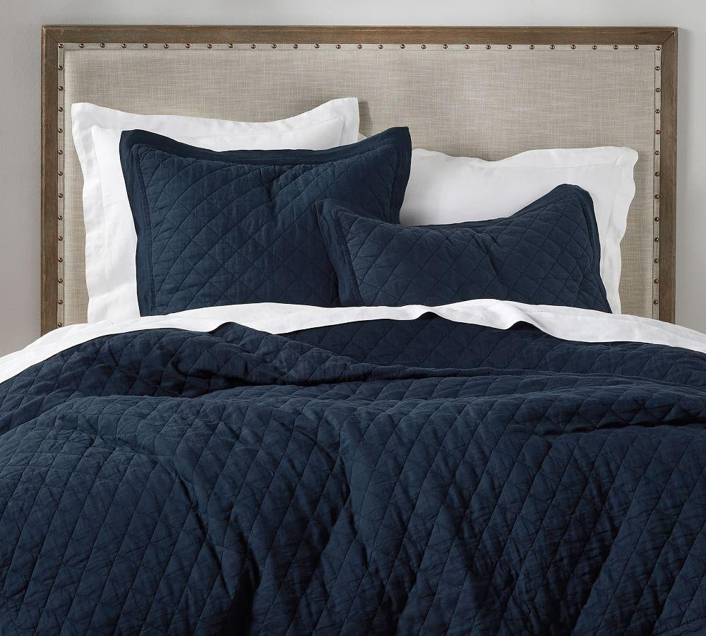 Belgian Flax Linen Diamond Coverlet & Pillowcases - Midnight