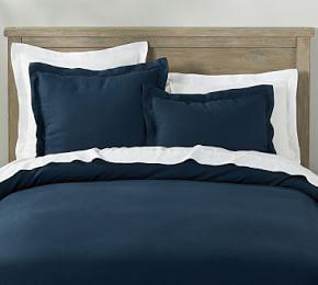 Belgian Flax Linen Quilt Cover & Pillowcases - Midnight