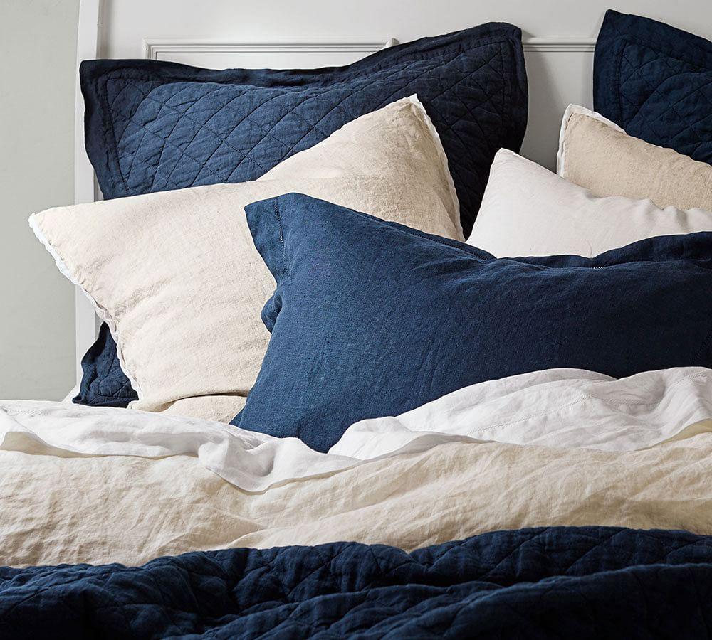 Belgian Flax Linen Quilt Cover & Pillowcases - Midnight