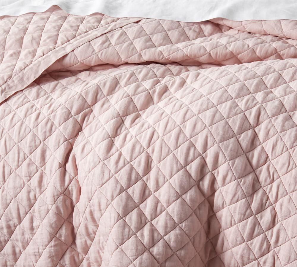 Belgian Flax Linen Diamond Coverlet & Pillowcases - Soft Rose