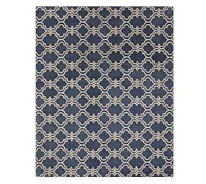 Scroll Tile Rug - Indigo Blue