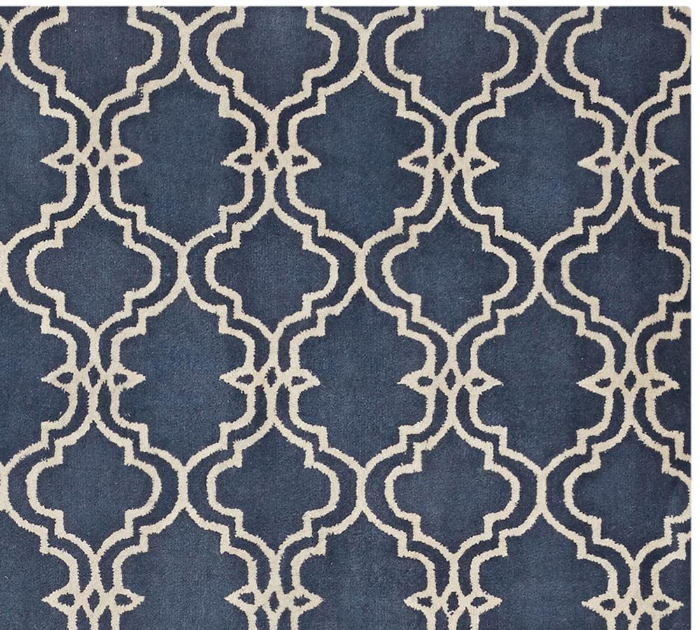 Scroll Tile Rug - Indigo Blue
