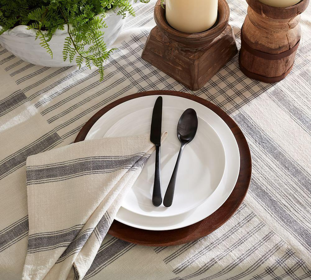 French Stripe Patchwork Table Throw