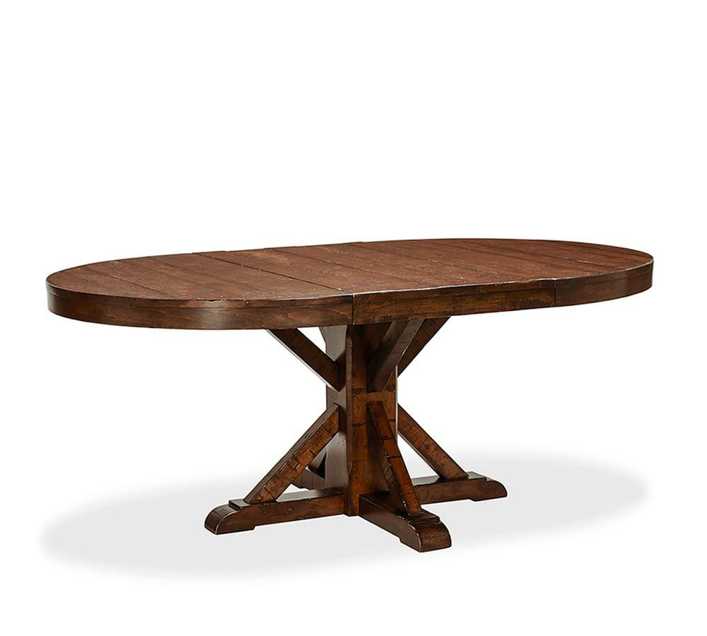 Benchwright Extending Round Dining Table - Rustic Mahogany