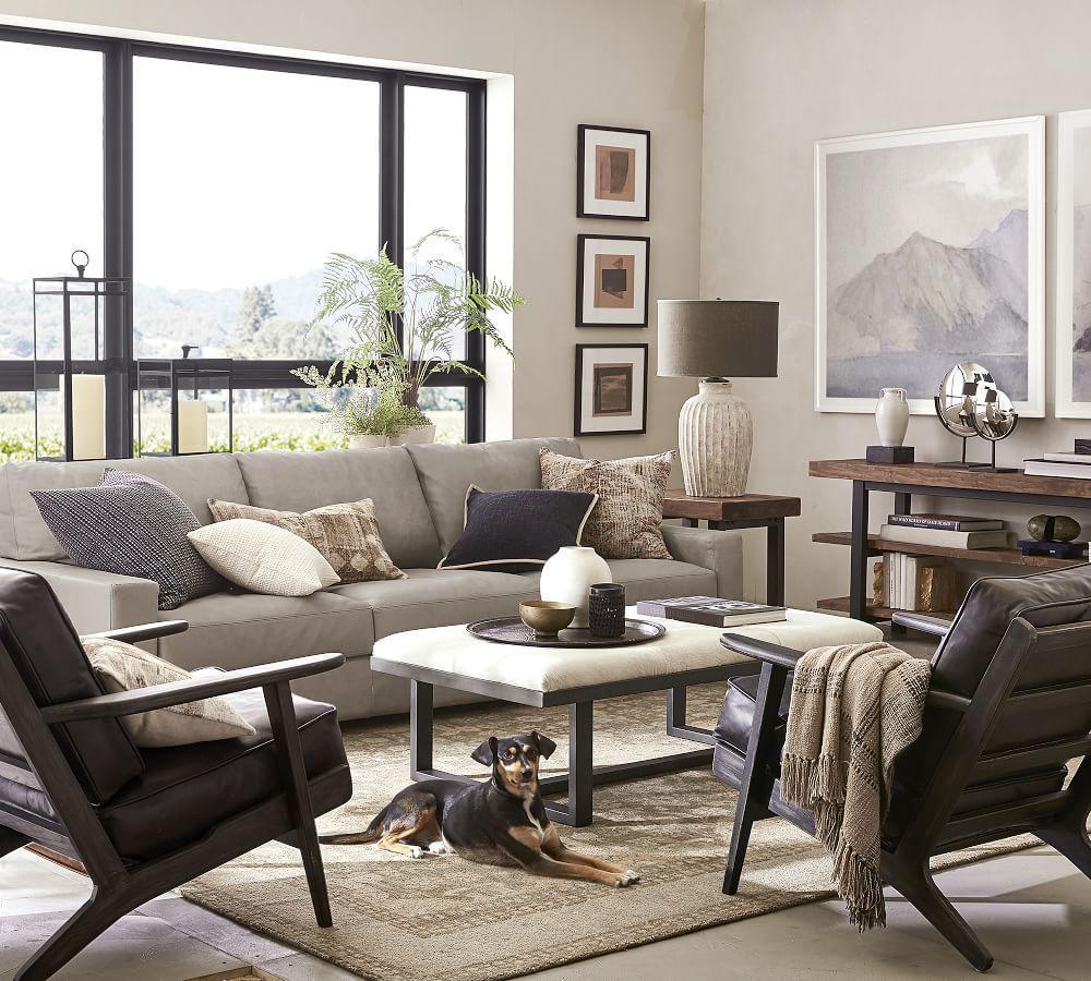 Turner Square Arm Leather Sofa - Nubuck Greystone (217 cm)