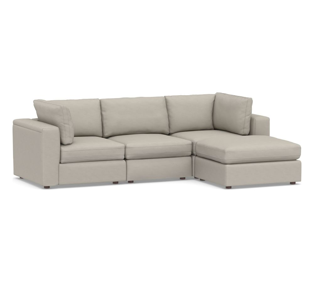 PB Air Square Arm Upholstered 4-Piece Sofa with Chaise Sectional