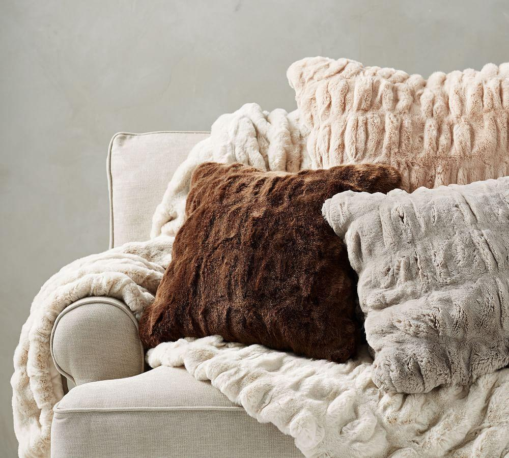 Faux Fur Ruched Cushion Covers