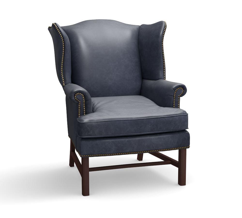 Thatcher Leather Wingback Chair - Indigo Blue