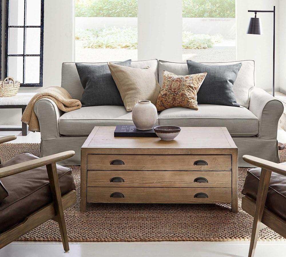PB Comfort Roll Arm Slipcovered Sofa - Pebble (212 cm)