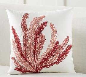 Coral Plant Embroidered Cushion Cover