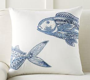 Lewes Fish Embroidered Cushion Cover