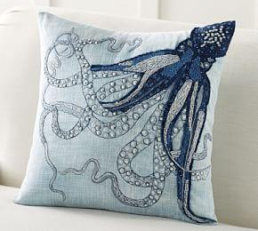 Octopus Tenticle Embroidered Cushion Cover