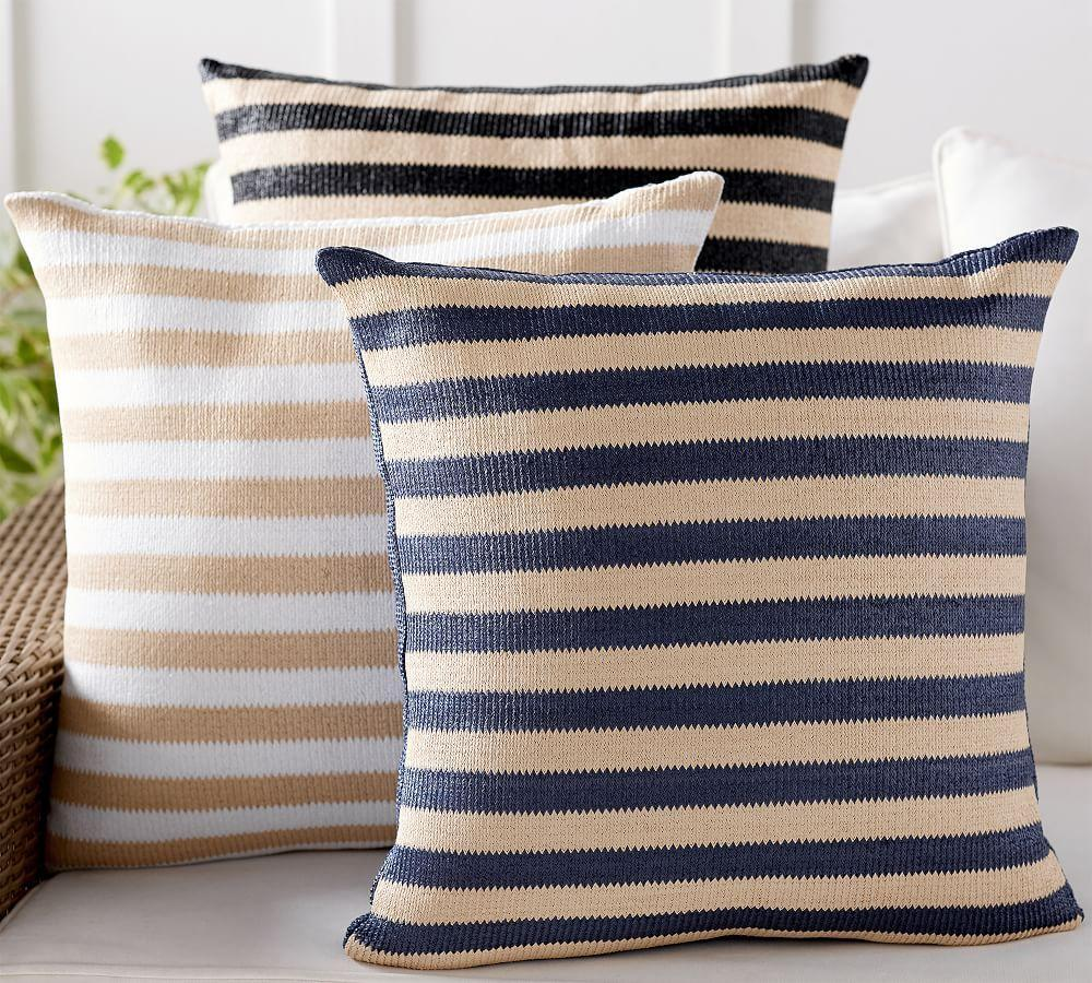 Indoor & Outdoor Faux Natural Fibre Stripe Cushion