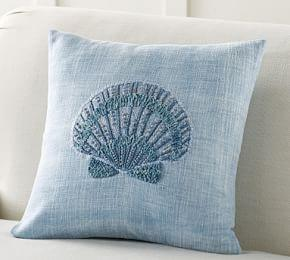 Shell Embroidered Cushion Cover