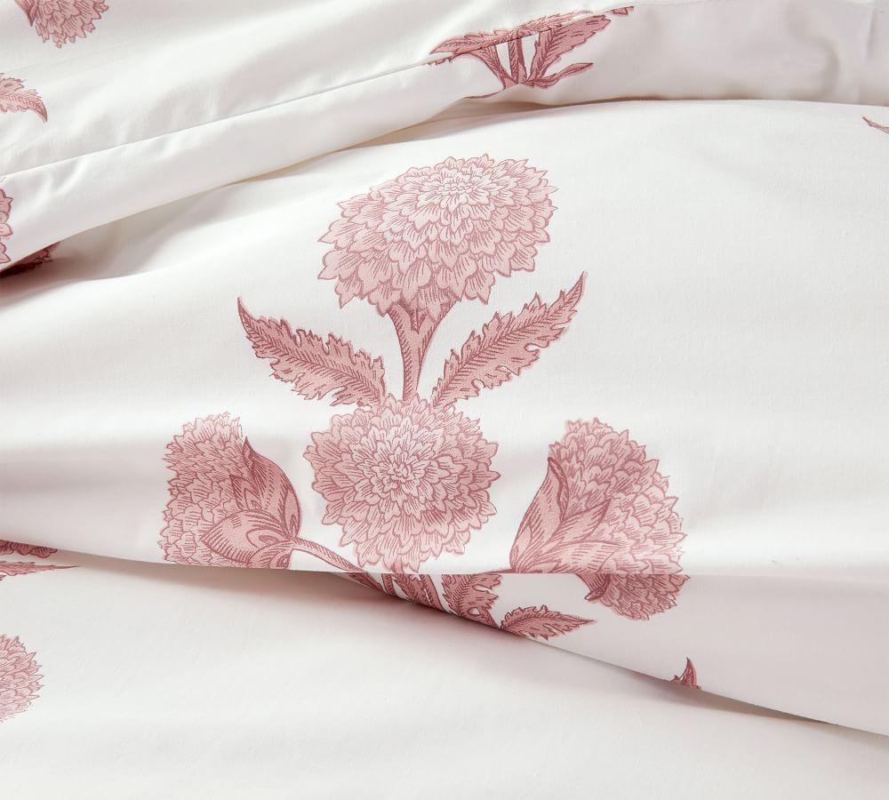 Annelyse Floral Print Organic Quilt Cover & Pillowcase - Blush