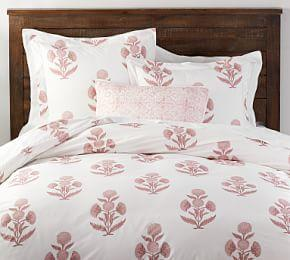 Annelyse Floral Print Organic Quilt Cover & Pillowcase - Blush