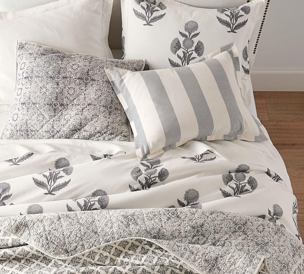 Annelyse Floral Print Organic Quilt Cover & Pillowcase - Grey