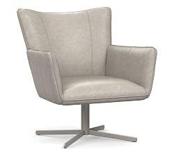 Bradley Leather Swivel Armchair