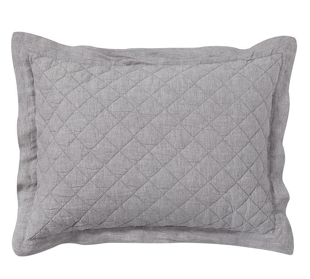 Belgian Flax Linen Diamond Coverlet & Pillowcases - Flagstone