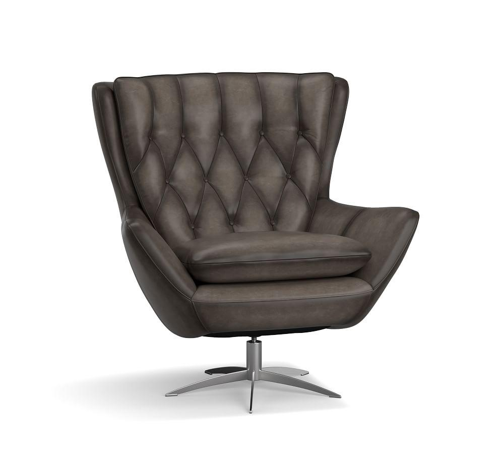Wells Leather Swivel Armchair - Burnished Wolf Grey