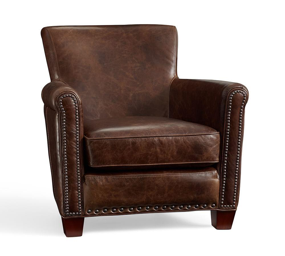 Irving Leather Armchair with Nailheads | Pottery Barn AU