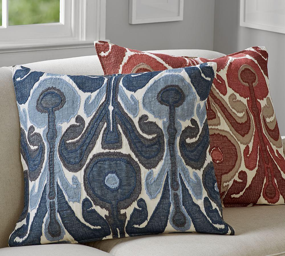 Kenmare Ikat Embroidered Cushion Cover Pottery Barn Au