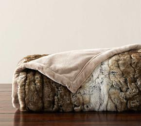 Faux Fur Textured Ombre Throw