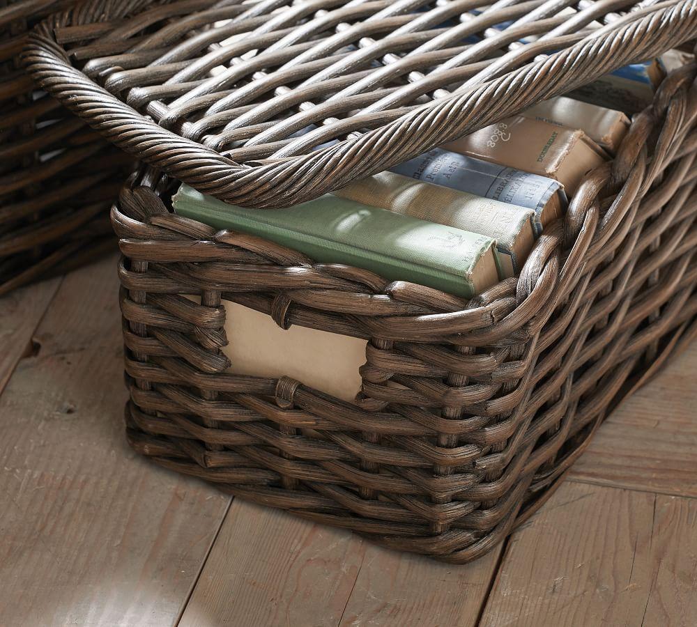Aubrey Woven Lidded Baskets - Charcoal