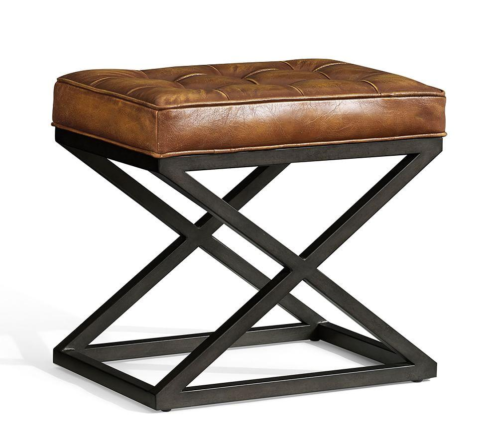Kirkham Tufted Leather X-Base Stool