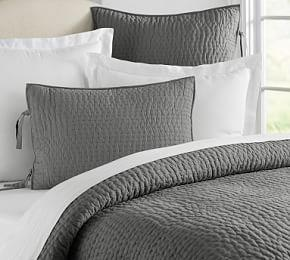 Pick-Stitch Handcrafted Cotton Linen Blend Coverlet & Pillowcases - Grey