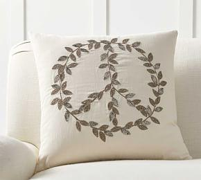 Peace Leaves Embellished Cushion Cover