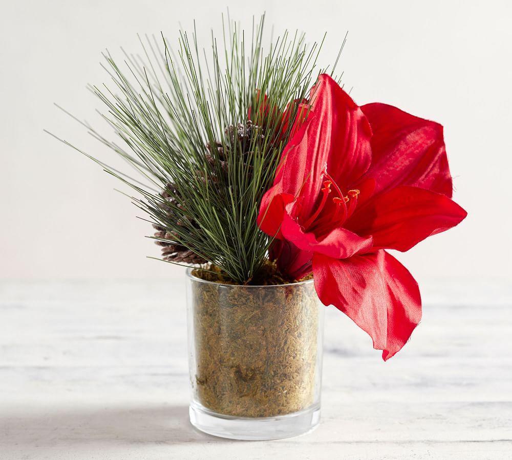 Faux Amaryllis & Pine Arrangement in Vase