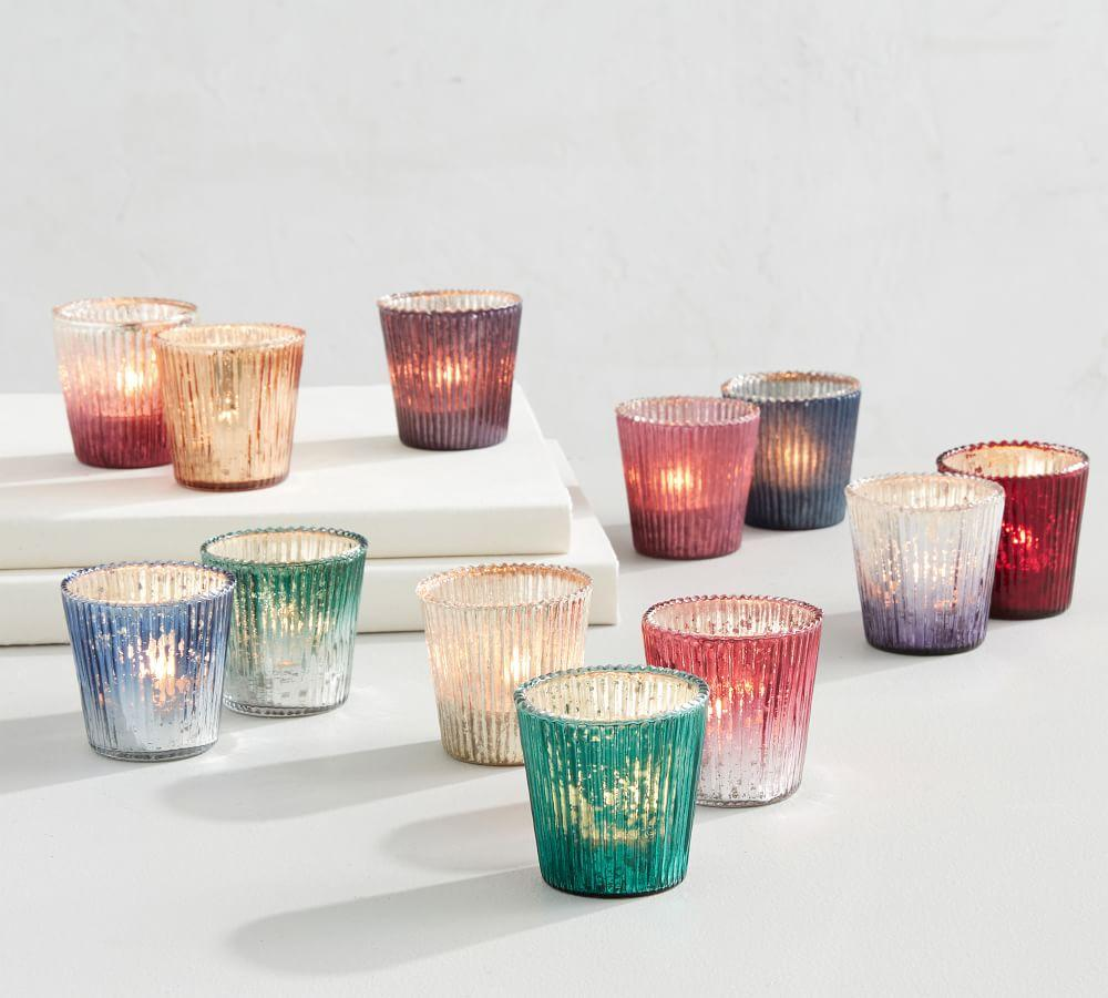 Jewel Tone Mercury Votive Candle Holders - Multi