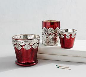 Red Madeline Mercury Votive Holders
